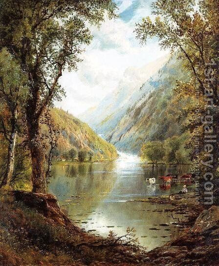 Scene in the Catskills by Edmund Darch Lewis - Reproduction Oil Painting