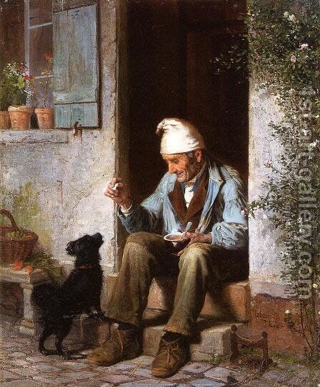 The Little Beggar by James Wells Champney - Reproduction Oil Painting