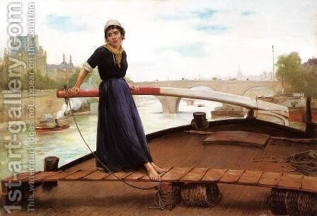 Along the Seine by Henry Bacon - Reproduction Oil Painting
