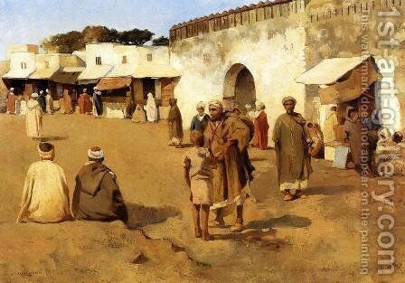 Moroccan Market I by Theo van Rysselberghe - Reproduction Oil Painting