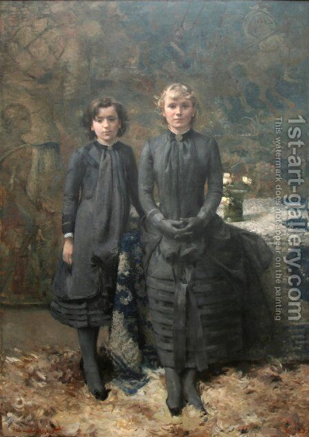 The Schlobach Sisters by Theo van Rysselberghe - Reproduction Oil Painting