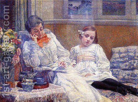 Madame Theo van Rysselberghe and Her Daughter by Theo van Rysselberghe - Reproduction Oil Painting