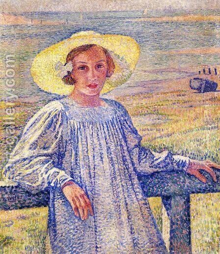 Elisaeth van Rysselberghe in a Straw Hat by Theo van Rysselberghe - Reproduction Oil Painting