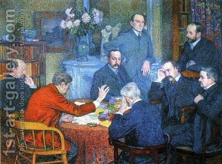 A Reading by Emile Verhaeren by Theo van Rysselberghe - Reproduction Oil Painting