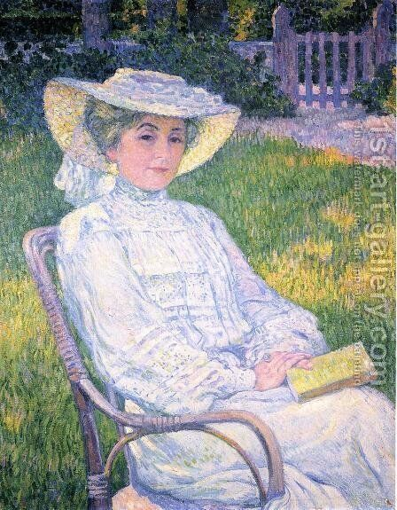 Madame Theo van Rysselberghe in the Garden by Theo van Rysselberghe - Reproduction Oil Painting