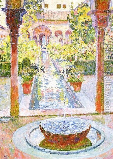 The Gardens of Generalife in Grenada by Theo van Rysselberghe - Reproduction Oil Painting
