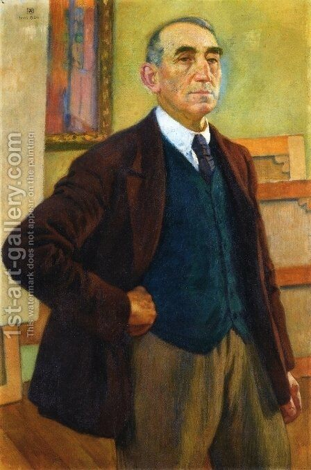 Self Portrait in a Green Waistcoat by Theo van Rysselberghe - Reproduction Oil Painting