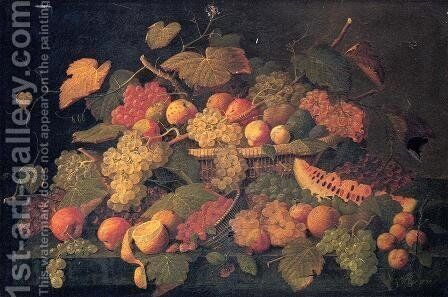 Still Life: An Abundance of Fruit by Severin Roesen - Reproduction Oil Painting
