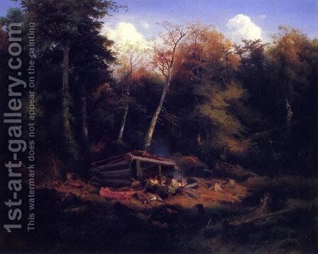 Indian Camp in the Forest by Heinrich Eduard Muller - Reproduction Oil Painting
