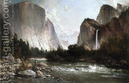 Piute Fishing on the Merced River, Yosemite Valley by Thomas Hill - Reproduction Oil Painting