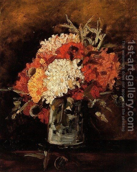 Vase with Carnations 2 by Vincent Van Gogh - Reproduction Oil Painting