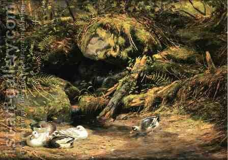 Ducks at the Spring Head by Arthur Fitzwilliam Tait - Reproduction Oil Painting