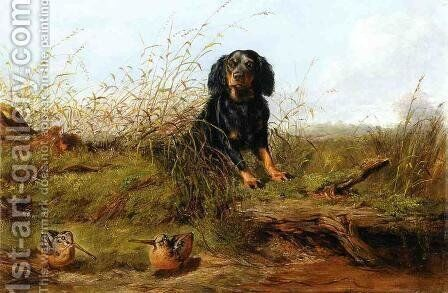 Cocker Spaniel and Woodcock by Arthur Fitzwilliam Tait - Reproduction Oil Painting