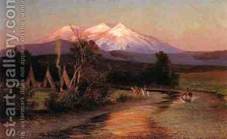 Sierra Blanca at Sunset Looking East from Palmilia, New Mexico by Edward Hill - Reproduction Oil Painting