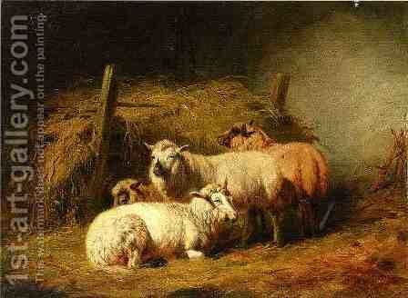 Sheep in Shed by Arthur Fitzwilliam Tait - Reproduction Oil Painting