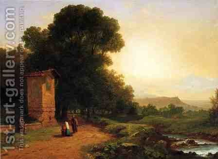 The Shrine - A Scene in Italy by John Frederick Kensett - Reproduction Oil Painting