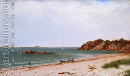 View of the Beach at Beverly, Massachusetts by John Frederick Kensett - Reproduction Oil Painting