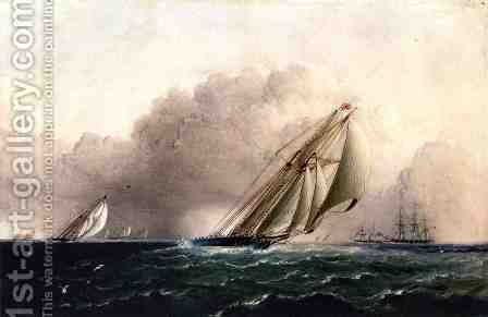 N.Y.Y.C. Schooner Yacht Estelle Running Home by James E. Buttersworth - Reproduction Oil Painting