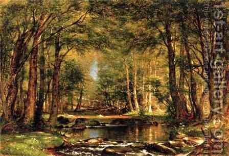 A Catskill Brook by Thomas Worthington Whittredge - Reproduction Oil Painting