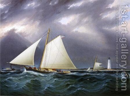 The Match between the Yachts Vision and Meta - Rough Weather by James E. Buttersworth - Reproduction Oil Painting