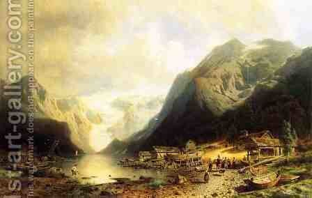 Fishermans Village on an Alpine Lake by Herman Herzog - Reproduction Oil Painting