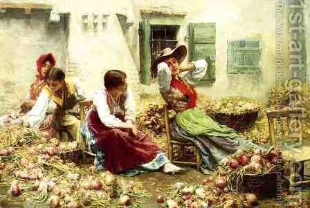 Italian Idyll by Charles Frederick Ulrich - Reproduction Oil Painting