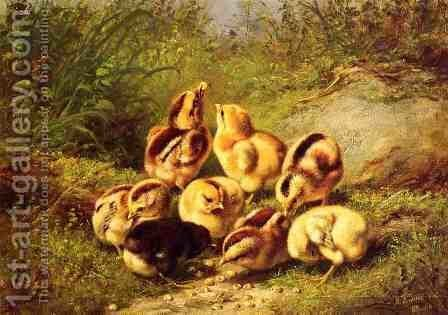 """Chicks """"Rather Hard Fare"""" by Arthur Fitzwilliam Tait - Reproduction Oil Painting"""