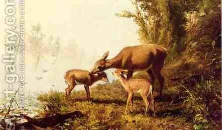 Deer in the Woods by Arthur Fitzwilliam Tait - Reproduction Oil Painting