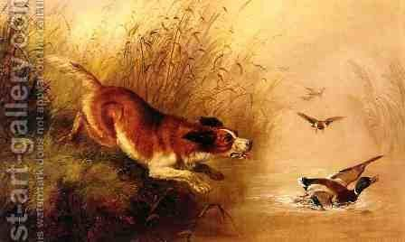 Spaniel Chasing Ducks by Arthur Fitzwilliam Tait - Reproduction Oil Painting