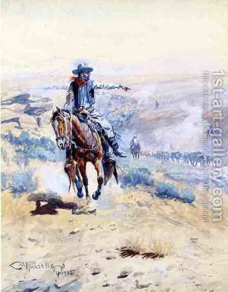 Pointing Out the Trail by Charles Marion Russell - Reproduction Oil Painting