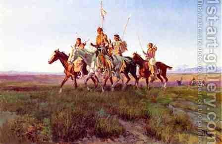 Return of the War Party by Charles Marion Russell - Reproduction Oil Painting