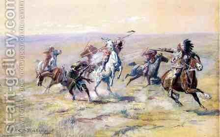 When Sioux and Blackfoot Meet by Charles Marion Russell - Reproduction Oil Painting