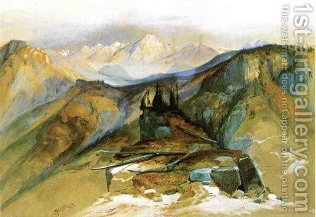 Distant Peaks by Thomas Moran - Reproduction Oil Painting
