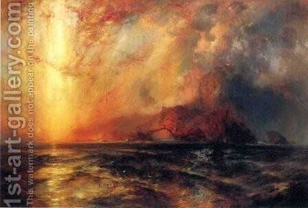 Fiercely the Red Sun Descending, Burned His Way across the Heavens by Thomas Moran - Reproduction Oil Painting