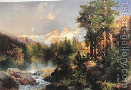 The Three Tetons by Thomas Moran - Reproduction Oil Painting