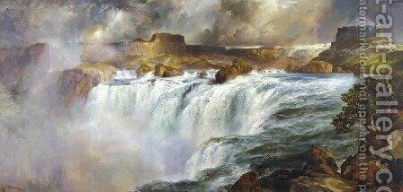 Shoshone Falls on the Snake River by Thomas Moran - Reproduction Oil Painting