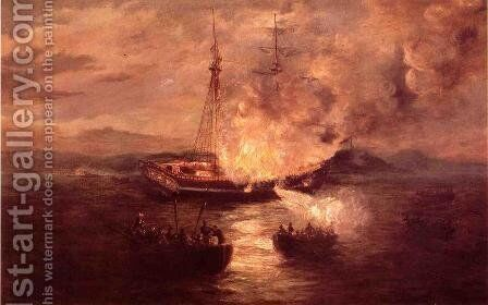 The Burning of the Gaspee by Charles DeWolf Brownell - Reproduction Oil Painting