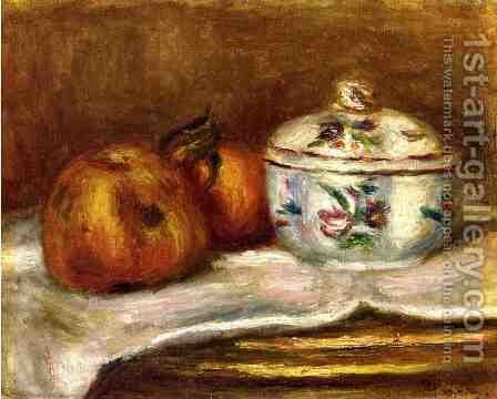 Sugar Bowl, Apple and Orange by Pierre Auguste Renoir - Reproduction Oil Painting