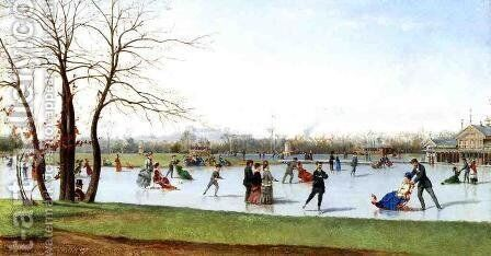 Circle of Skaters, Bois de Boulogne by Conrad Wise Chapman - Reproduction Oil Painting