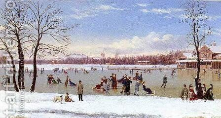 Skating in the Bois de Boulogne by Conrad Wise Chapman - Reproduction Oil Painting