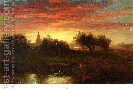 Summer Sunset by Edward Moran - Reproduction Oil Painting