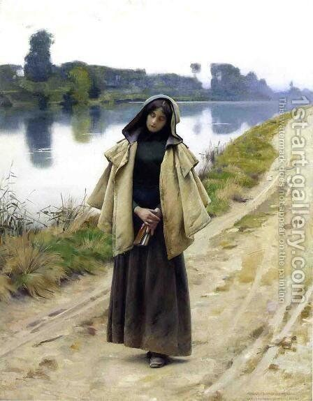 Girl by a Path by Charles Sprague Pearce - Reproduction Oil Painting