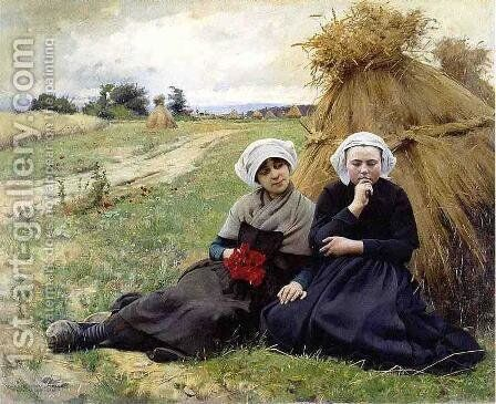 In the Poppy Field by Charles Sprague Pearce - Reproduction Oil Painting