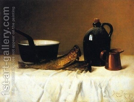 Still Life with Herring, Pot, Jug and Measure by Milne Ramsey - Reproduction Oil Painting