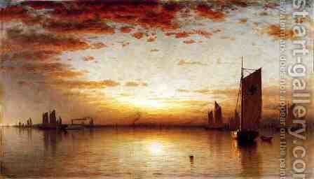A Sunset, Bay of New York by Sanford Robinson Gifford - Reproduction Oil Painting