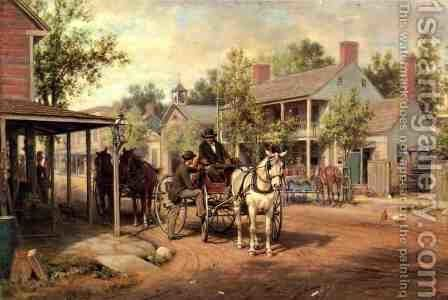 Horse and Buggy on Main Street by Edward Lamson Henry - Reproduction Oil Painting