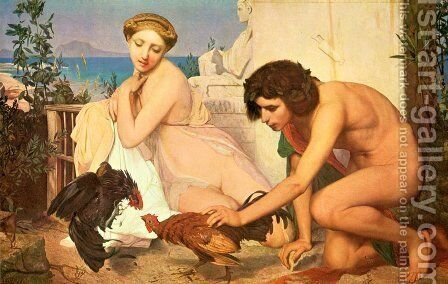 Young Greeks at a Cock Fight by Jean-Léon Gérôme - Reproduction Oil Painting
