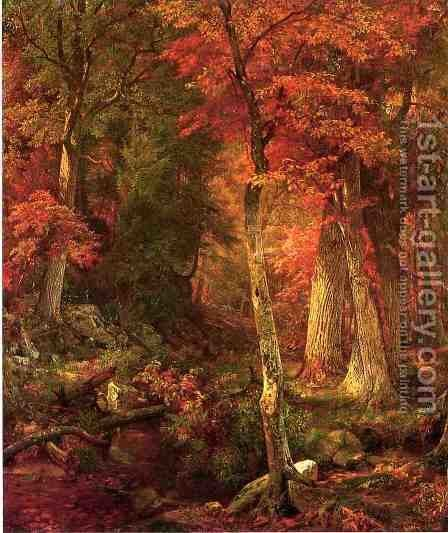 Forest Interior in Autumn by William Trost Richards - Reproduction Oil Painting