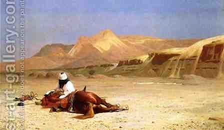 An Arab and His Horse in the Desert by Jean-Léon Gérôme - Reproduction Oil Painting