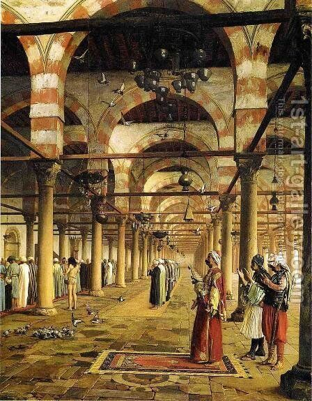 Paryer in the Mosque by Jean-Léon Gérôme - Reproduction Oil Painting